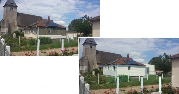 Insertion dans le paysage - extension du séjour - 20 m² - structure bois, bardage bois, isolation par l'extérieur de l'existant